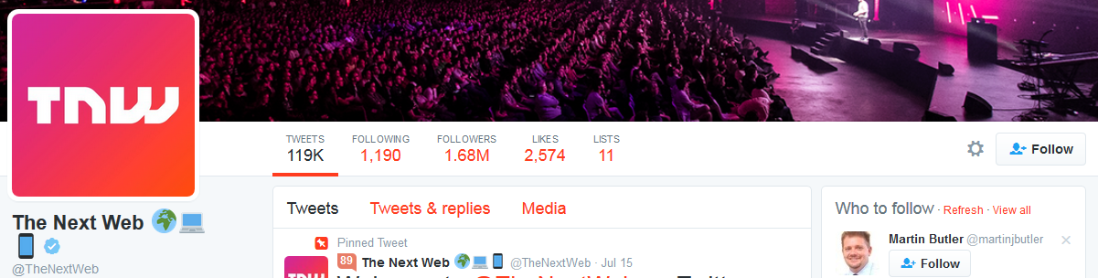 The Next Web rocking icons in their Twitter name