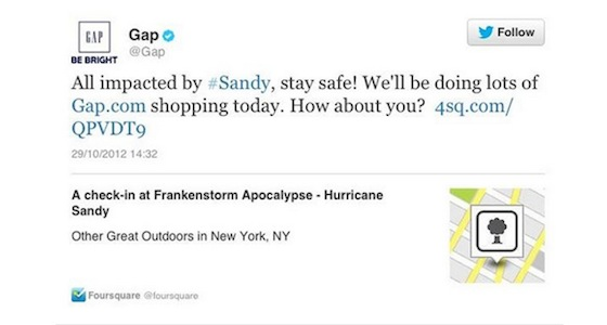 Gap attempting to promote themselves using a hashtag for hurricane sandy